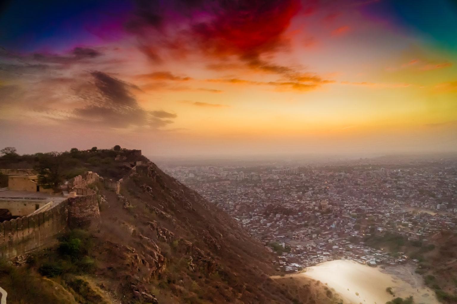 Nightfall over Jaipur..Amber fort, Jaipur, India..